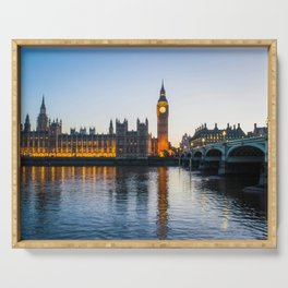Big Ben During Sunset | London England Europe Cityscape Night Photography Serving Tray