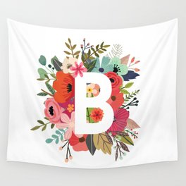 B – Monogrammed Floral Initial Wall Tapestry