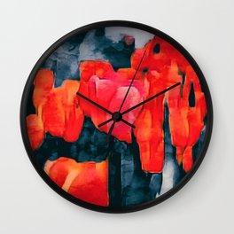 Tulip Field at Night Wall Clock