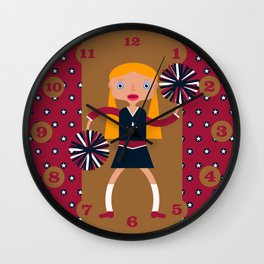 American Cheerleader with pom-poms Wall Clock
