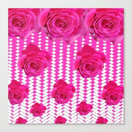ABSTRACTED CERISE PINK ROSES GARDEN ART Canvas Print