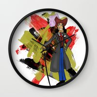 captain hook Wall Clocks featuring Disneyland Captain Hook - Evil Relations by Joey Noble