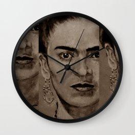 Frida Kahlo - sepia Wall Clock