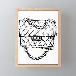 Chain bag black white fashion illustration Framed Mini Art Print