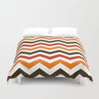 thanksgiving Duvet Covers featuring Thanksgiving Chevron by Designs By Misty Blue (Misty Lemons)