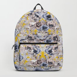 Gray Yellow Watercolor Floral Backpack
