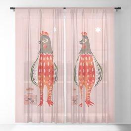 Christmas Chicken - illustration Sheer Curtain