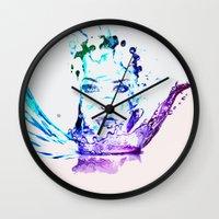 splash Wall Clocks featuring Splash by CLE.ArT.