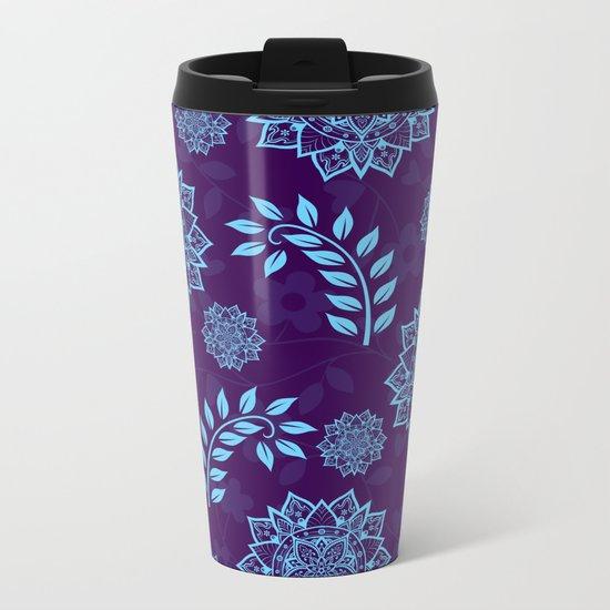 Mandalas & Leaves Pattern Blue Purple Metal Travel Mug