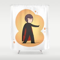 magneto Shower Curtains featuring The most magnetic of the X-men: Little Magneto by Artistale