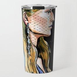 fashion #39: woman in a hat with a veil Travel Mug