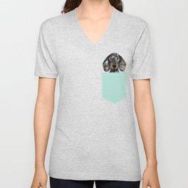 Doxie Dachshund merle dapple dog cute must have dog accessories dog gifts cute doxies dachshunds des Unisex V-Neck
