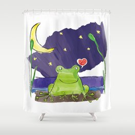 The frog and the moon Shower Curtain