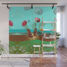 BOOTS N FLOWERS Wall Mural