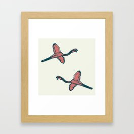 Pink Flamingo watercolor pattern beige Framed Art Print