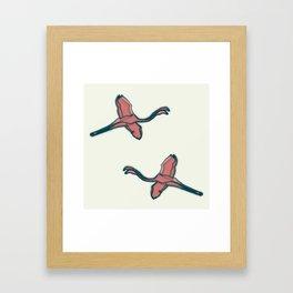 Pink Flamingo watercolor pattern beige Framed Art Print