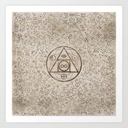 Philosopher's stone symbol and Alchemical  pattern #3 Art Print