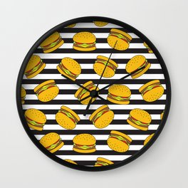 Burger Stripes By Everett Co Wall Clock