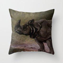 Vintage Rhinoceros Painting (1909) Throw Pillow