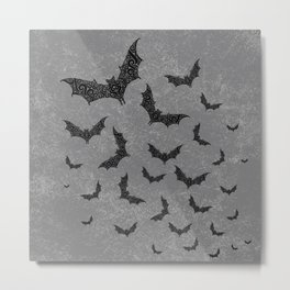 Swirly Bat Swarm Metal Print
