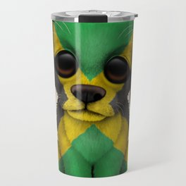 Cute Puppy Dog with flag of Jamaica Travel Mug