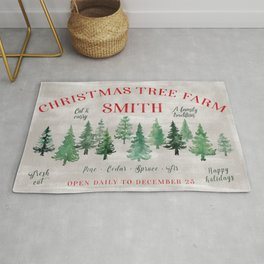 Christmas tree farm SMITH - message me for a different last name Rug