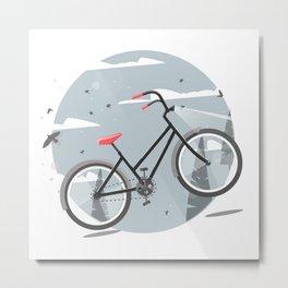 Bycicle illustration. Cartoon style. Metal Print