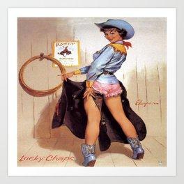 Vintage Western Luck Chaps Elvgren Cowgirl  Art Print