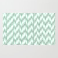 herringbone Area & Throw Rugs featuring Herringbone Mint by Project M