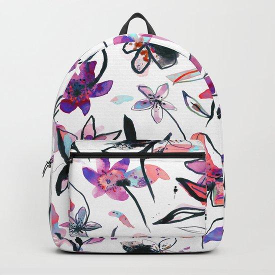 Ink flowers pattern - Viola Backpack