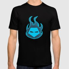 Hot Headed (Blue) SMALL Black Mens Fitted Tee