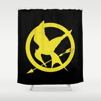 mockingjay Shower Curtains featuring HungerGames - Mockingjay by Elisa Gordon