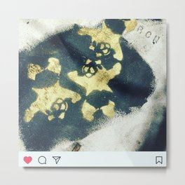Black n gold trash pandaSF Metal Print