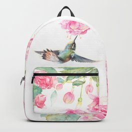 Paradise - watercolor hummingbirds and fuschia Backpack
