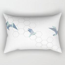 Origami birds mint grey octagon Rectangular Pillow