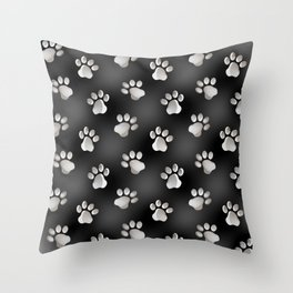Black and Silver Animal Cat Dog Paw Prints Throw Pillow