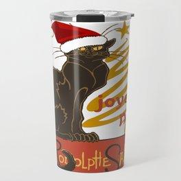 Joyeux Noel Le Chat Noir With Stylized Golden Tree Travel Mug