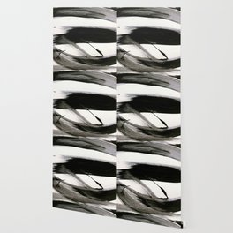 Brushstroke 9: a bold, minimal, black and white abstract piece Wallpaper