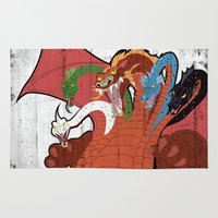 dungeons and dragons Area & Throw Rugs featuring DUNGEONS & DRAGONS - TIAMAT by Zorio