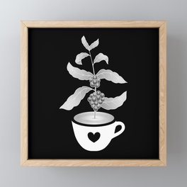 Coffee cup with Coffee plant Black Framed Mini Art Print