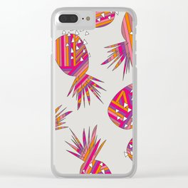 Geometric Pineapples Summer Print Clear iPhone Case