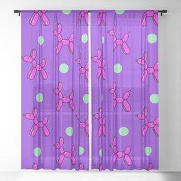 Balloon Dog Delight! Pink, Purple & Green Sheer Curtain