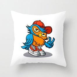 owl cartoon in hip-hop hat. Throw Pillow