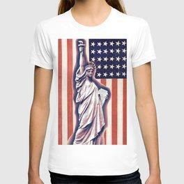 Patriotic Lady Liberty Digital Artwork T-shirt
