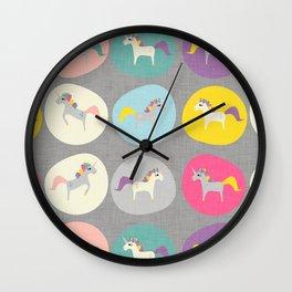 Cute Unicorn polka dots grey pastel colors and linen texture #homedecor #apparel #stationary #kids Wall Clock