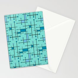 Intersecting Lines in Mint and Blues Stationery Cards