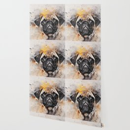 Pug Puppy Using Watercolor On Raw Canvas Wallpaper