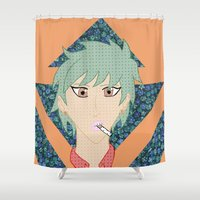 cigarettes Shower Curtains featuring Cigarettes and Flowers by lezlyeproductions