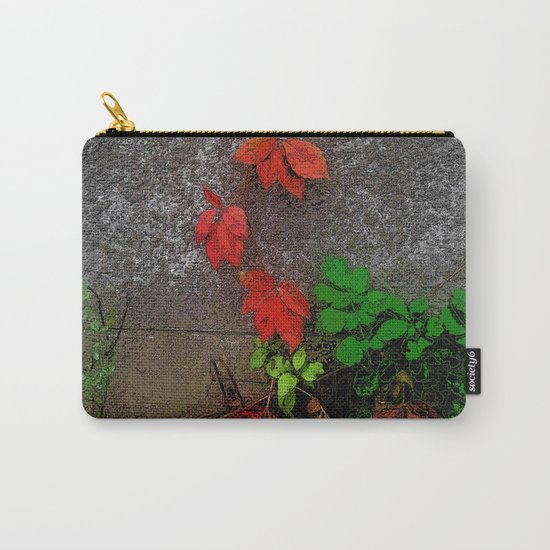 Red and green leaves on the wall Carry-All Pouch