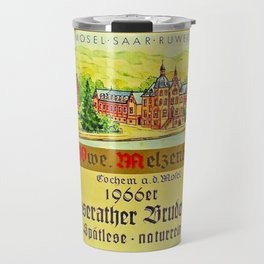 Vintage 1866 Wine Bottle Label Klusserather Bruderschaft Travel Mug